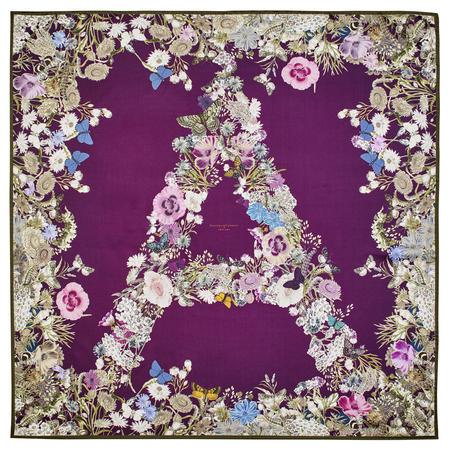 Ombre 'A' Floral Silk Scarf in Plum Pure Silk Twill