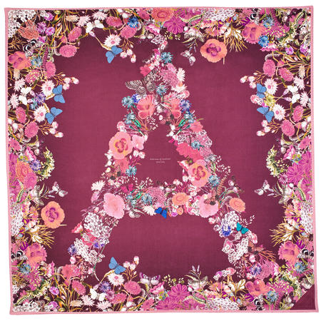 Ombre 'A' Floral Silk Scarf in Bordeaux