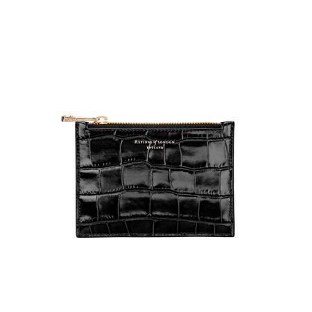 Small Essential Flat Pouch in Deep Shine Black Croc