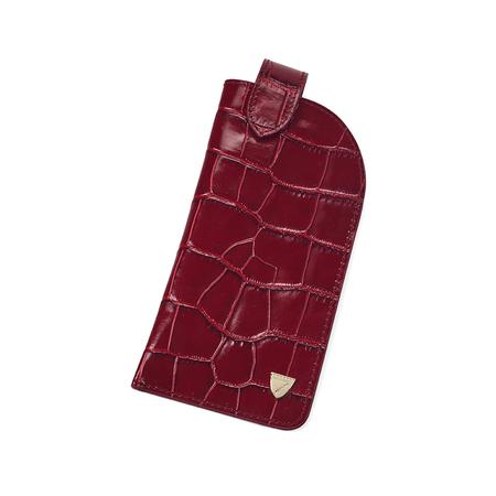 Slimline Glasses Case in Deep Shine Bordeaux Croc & Navy Suede