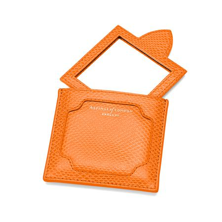 Marylebone Compact Mirror in Orange Lizard