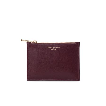 Small Essential Flat Pouch in Burgundy Saffiano