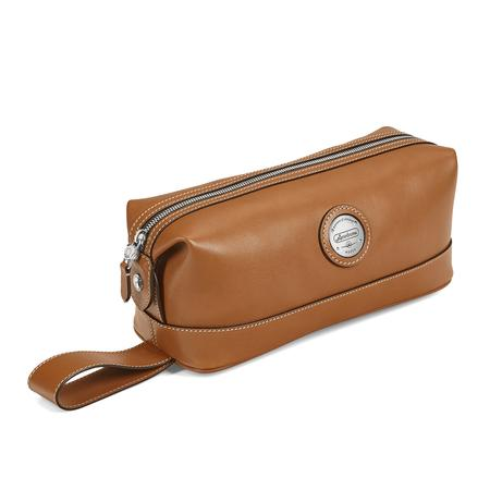 Aerodrome Zip Washbag in Smooth Tan