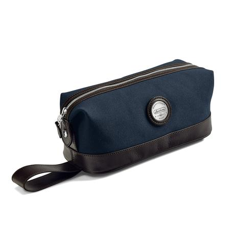 Aerodrome Zip Washbag in Navy Canvas & Dark Brown Pebble