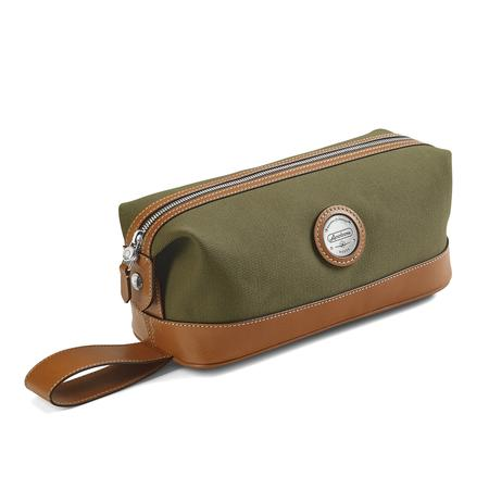 Aerodrome Zip Washbag in Khaki Canvas & Smooth Tan