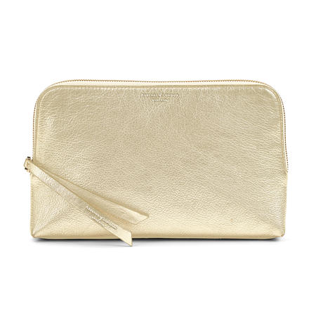 Large Essential Cosmetic Case in Pale Gold Pebble
