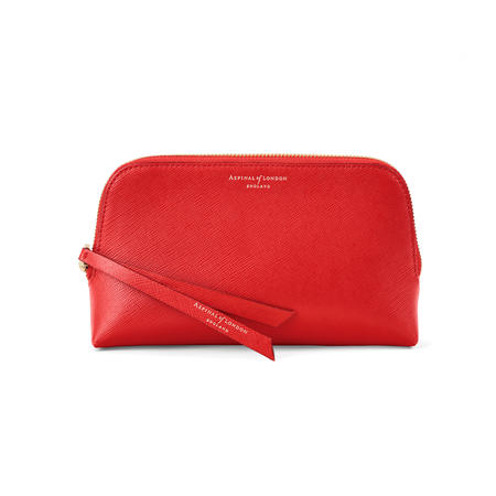 Small Essential Cosmetic Case in Scarlet Saffiano