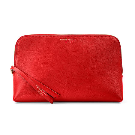 Large Essential Cosmetic Case in Scarlet Saffiano