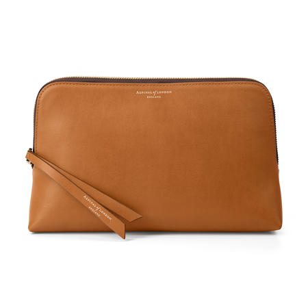 Large Essential Cosmetic Case in Smooth Tan