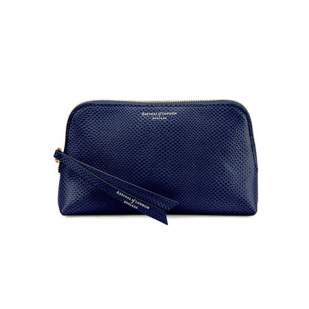 Small Essential Cosmetic Case in Midnight Blue Lizard