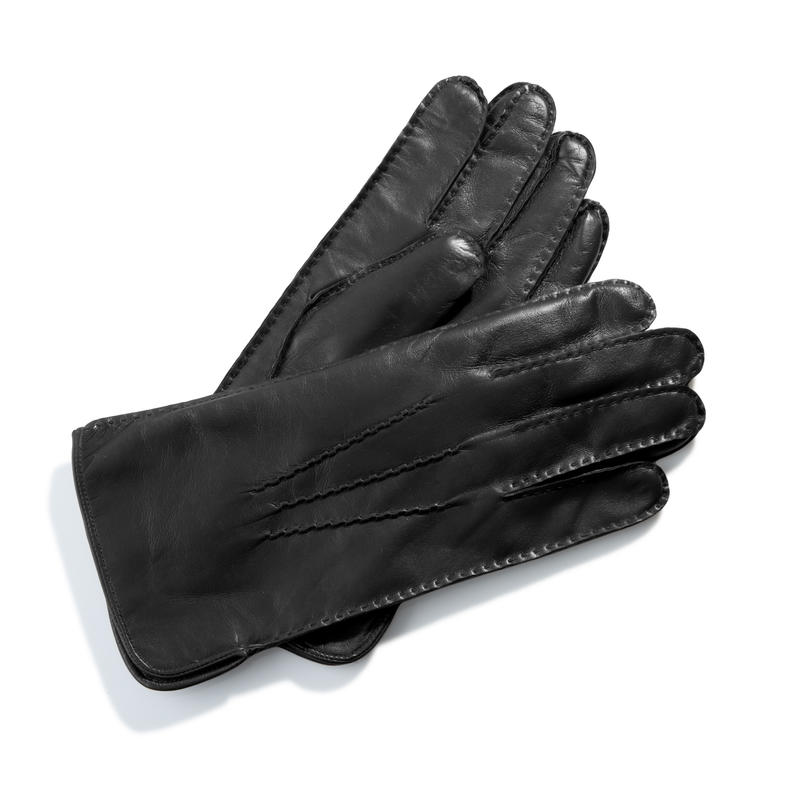 Men's Cashmere Lined Leather Gloves in Black