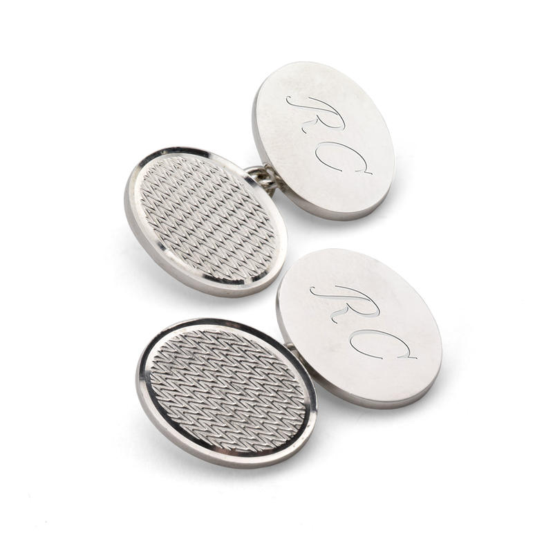 Classic Engine Turned Sterling Silver Cufflinks