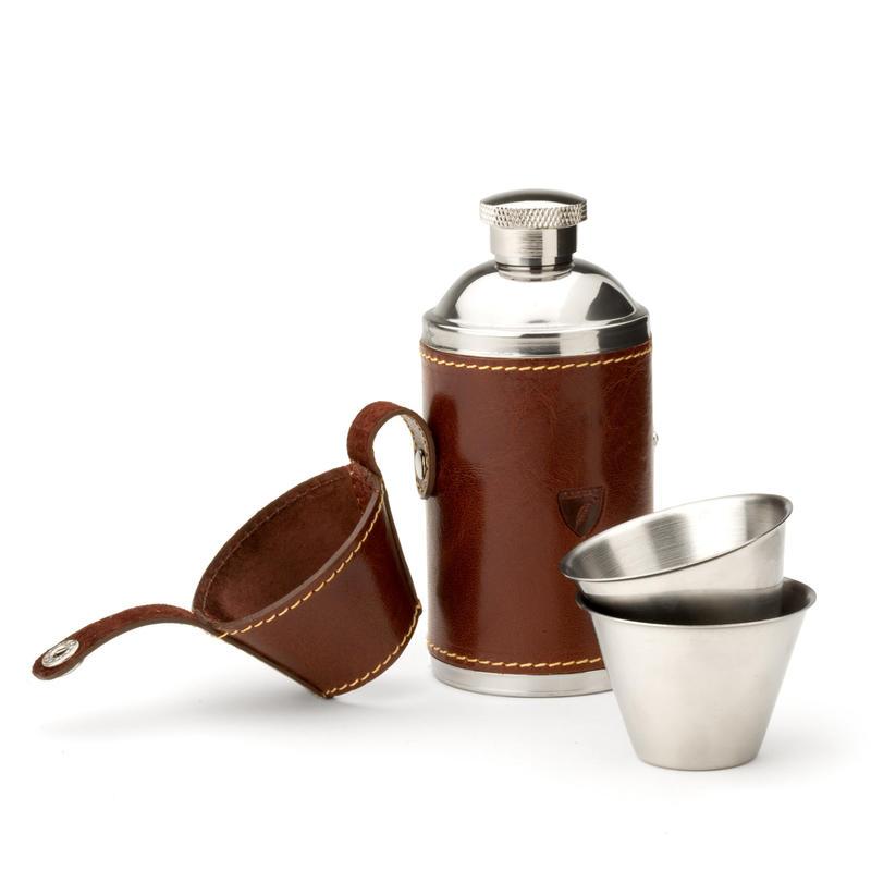 Hunter 6oz Leather Hip Flask in Smooth Cognac & Espresso Suede