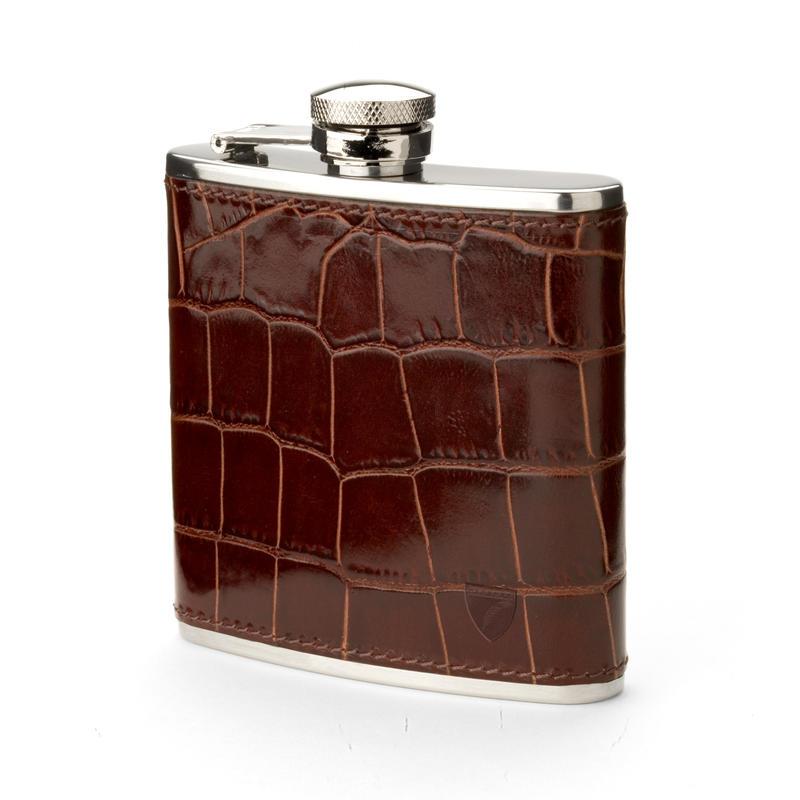 Classic 5oz Leather Hip Flask in Deep Shine Amazon Brown Croc