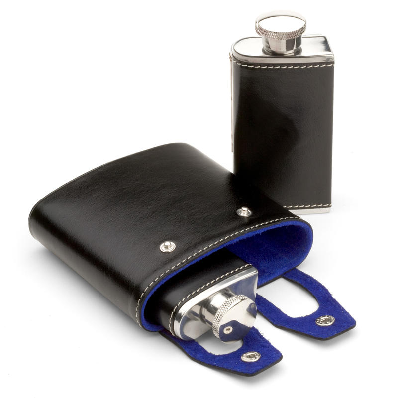 Double 6oz Leather Hip Flask in Smooth Black & Cobalt Suede