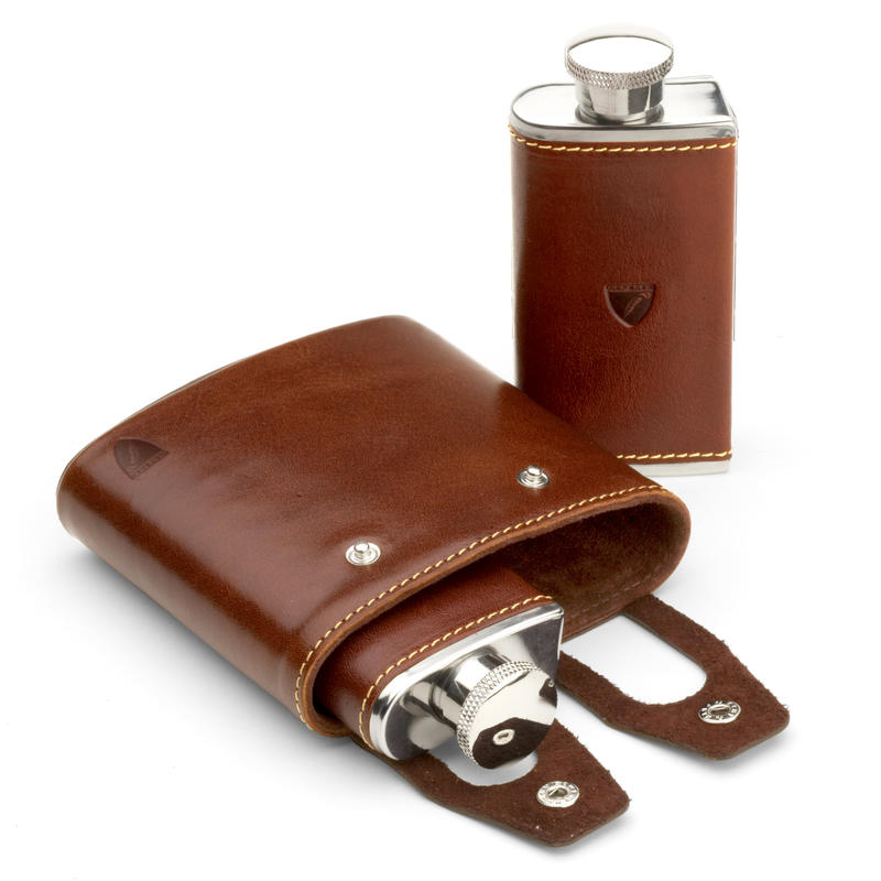 Double 6oz Leather Hip Flask in Smooth Cognac & Espresso Suede