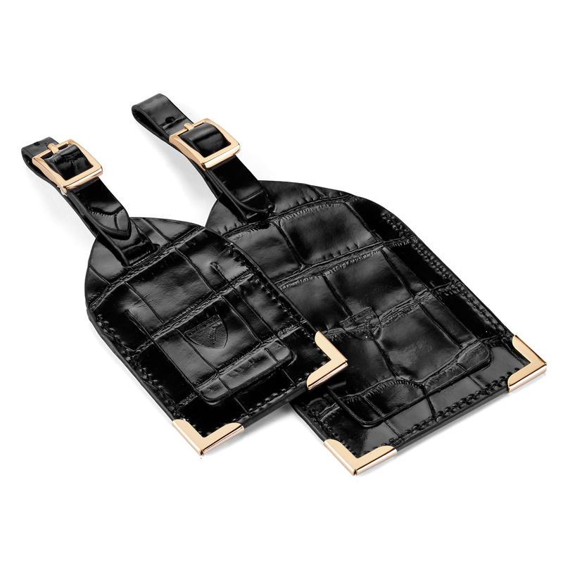 Set of 2 Luggage Tags in Deep Shine Black Croc