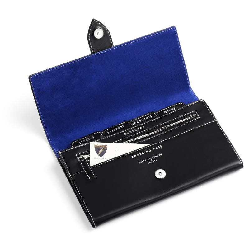 Deluxe Travel Wallet in Smooth Black & Cobalt Suede
