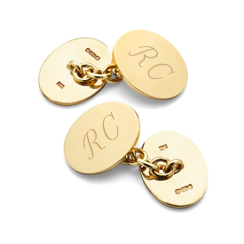 Sterling Silver & Gold Plated Plain Oval Cufflinks