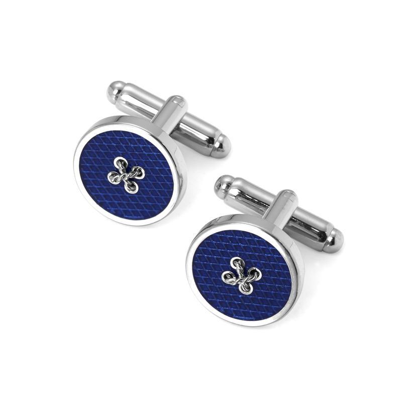 Sterling Silver Plated Button Cufflinks in Blue Enamel