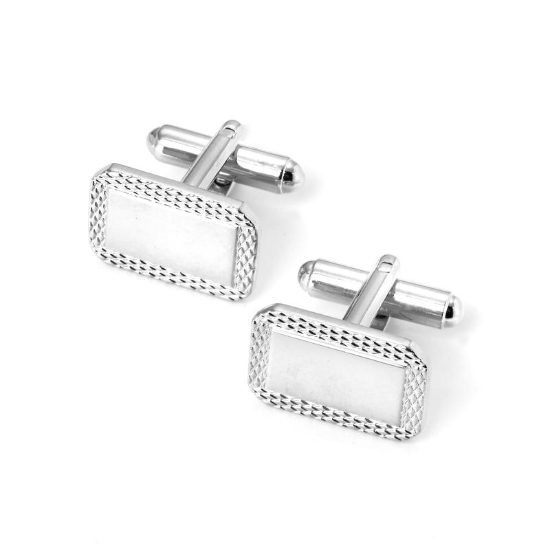 Sterling Silver Plated Engraved Edge Rectangular Cufflinks