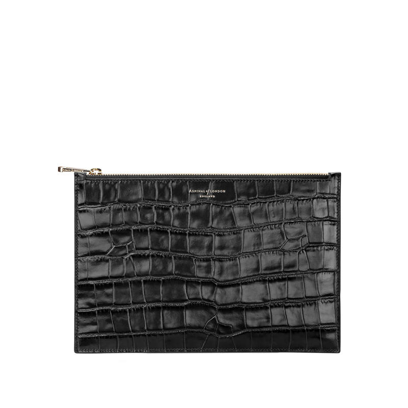 Large Essential Flat Pouch in Deep Shine Black Croc