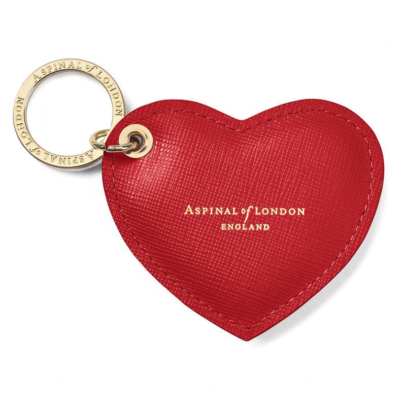 Heart Key Ring in Scarlet Saffiano