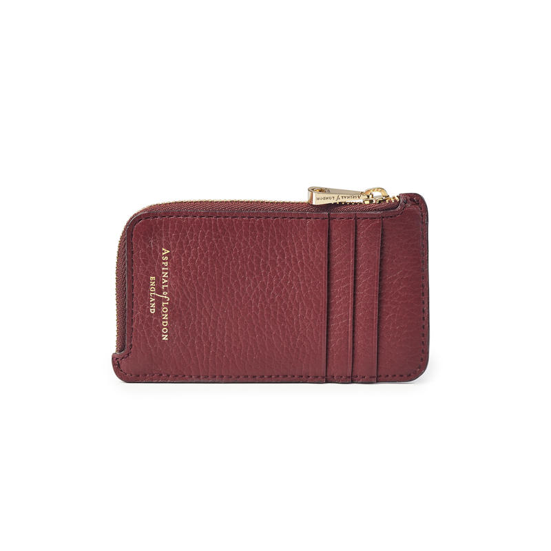 Zipped Coin & Card Holder in Bordeaux Pebble