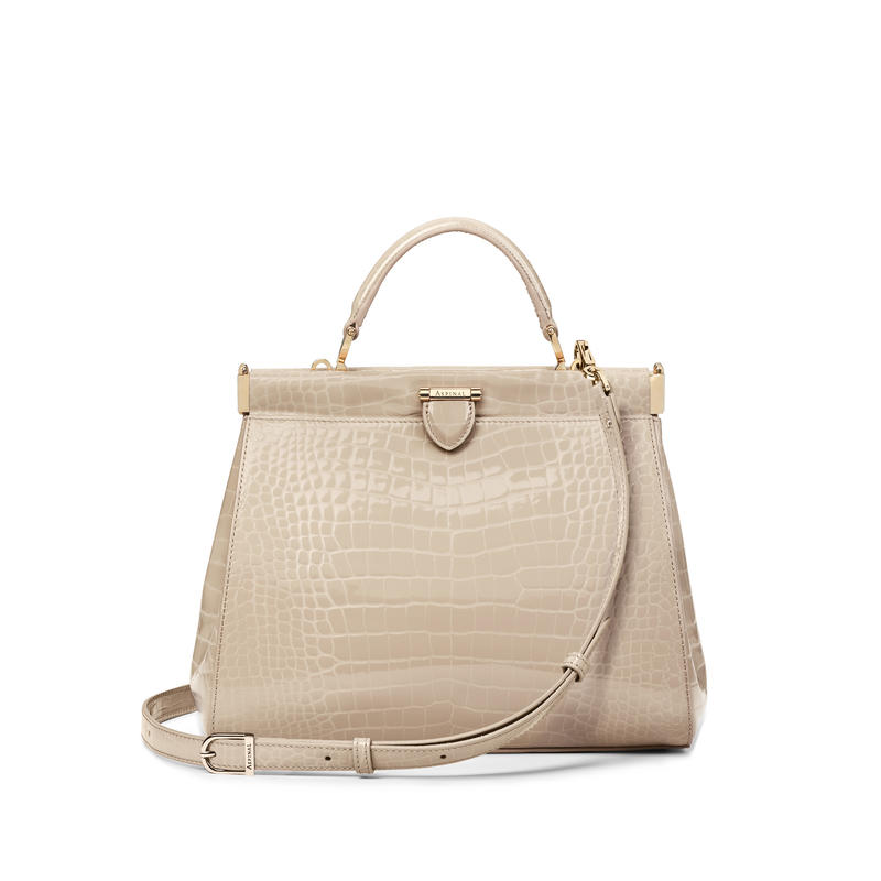 Small Florence Frame Bag in Soft Taupe Patent Croc
