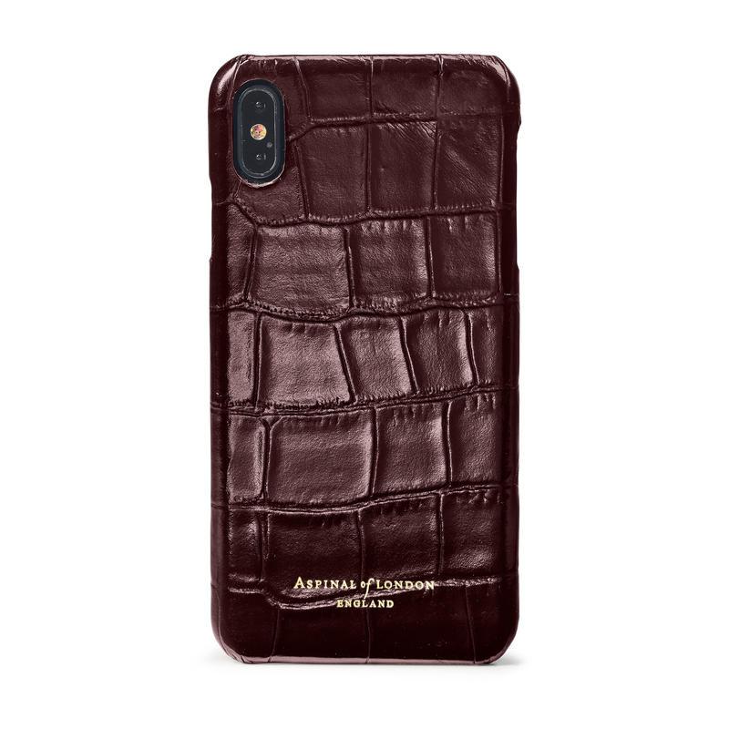 iPhone Xs Max Case in Deep Shine Amazon Brown Croc