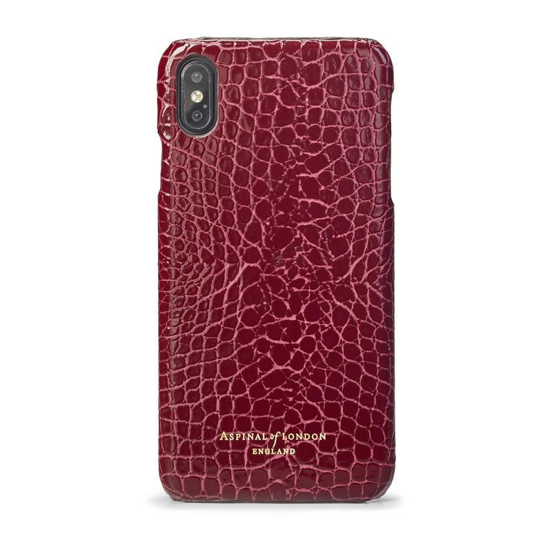 iPhone Xs Max Case in Bordeaux Patent Croc