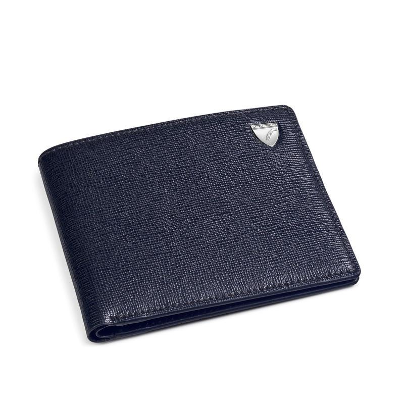 6 Card Billfold Wallet in Navy Saffiano & Smooth Navy
