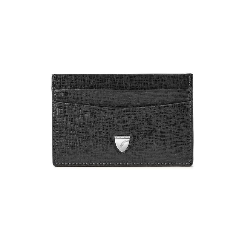 Slim Credit Card Holder in Black Saffiano