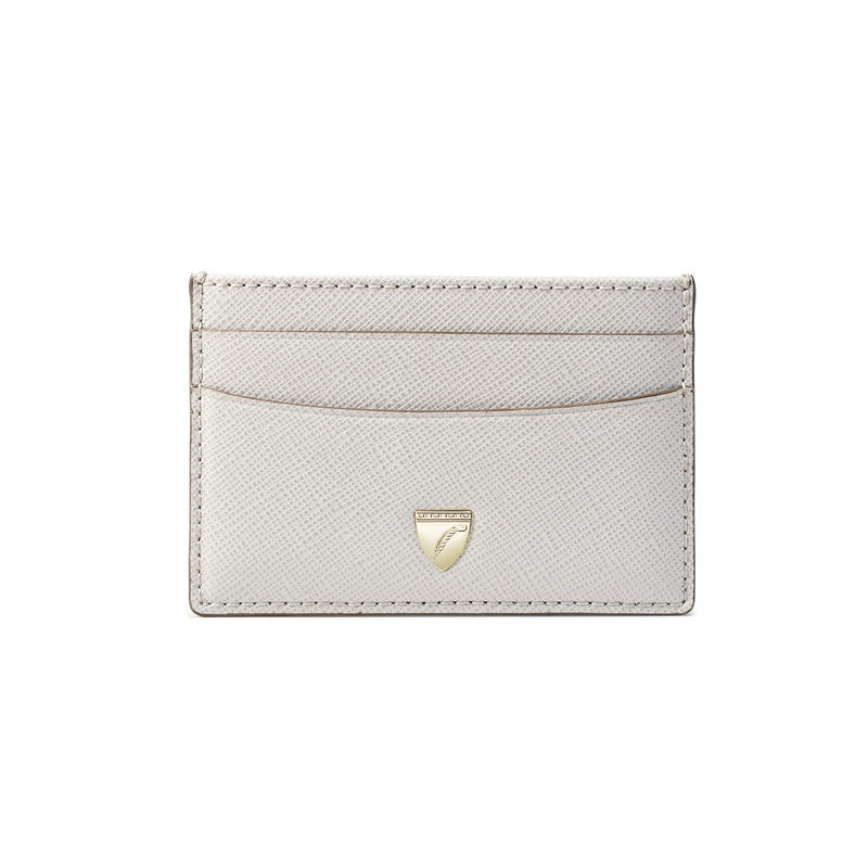 Slim Credit Card Holder in Light Grey Saffiano