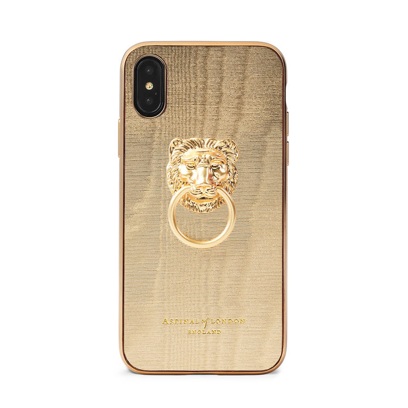 Lion iPhone Xs Case in Gold Moire Print