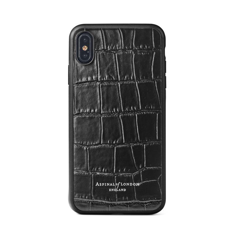 iPhone Xs Case with Black Edge in Deep Shine Black Croc