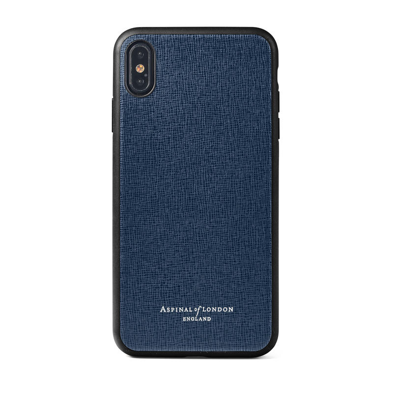 iPhone Xs Max Case with Black Edge in Navy Saffiano