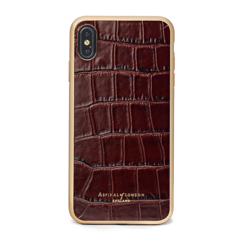iPhone Xs Max Case with Gold Edge in Deep Shine Amazon Brown Croc