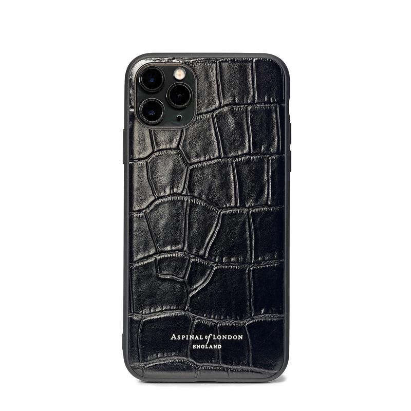 iPhone 11 Pro Case with Black Edge in Deep Shine Black Croc