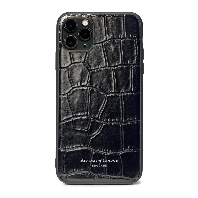 iPhone 11 Pro Max Case with Black Edge in Deep Shine Black Croc
