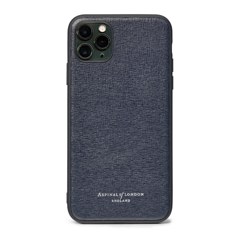 iPhone 11 Pro Max Case with Black Edge in Navy Saffiano