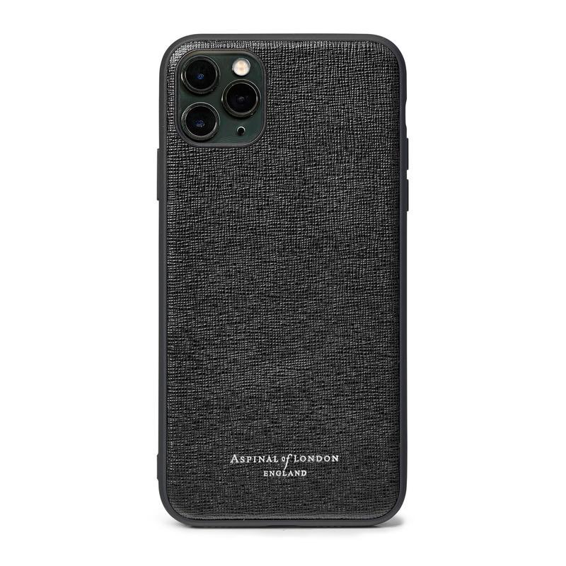 iPhone 11 Pro Max Case with Black Edge in Black Saffiano