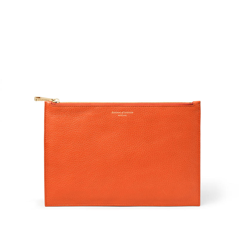 Large Essential Flat Pouch in Marmalade Pebble