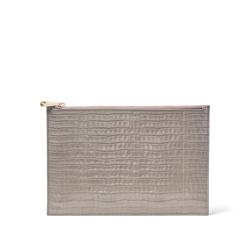 Large Essential Flat Pouch in Deep Shine Warm Grey Small Croc