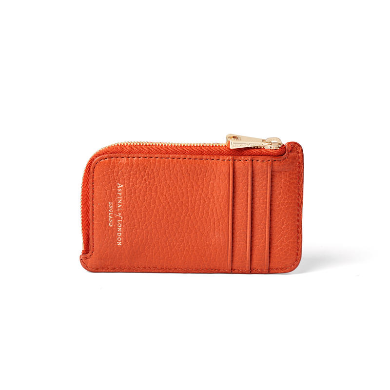 Zipped Coin & Card Holder in Marmalade Pebble