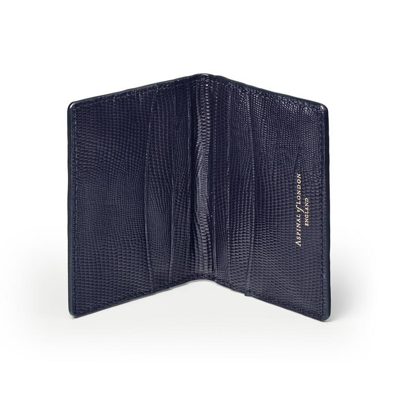 Double Fold Credit Card Holder in Midnight Blue Silk Lizard