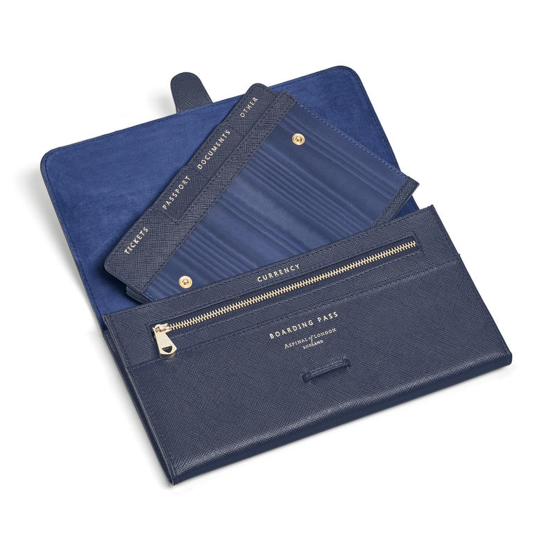 Travel Wallet with Removable Inserts in Navy Saffiano