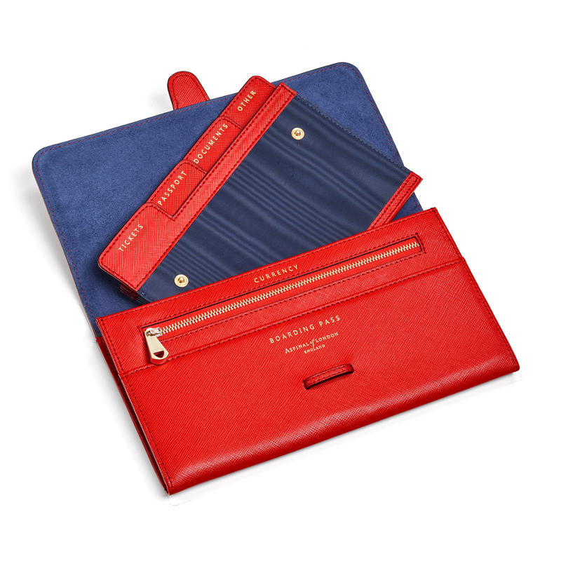 Travel Wallet with Removable Inserts in Scarlet Saffiano