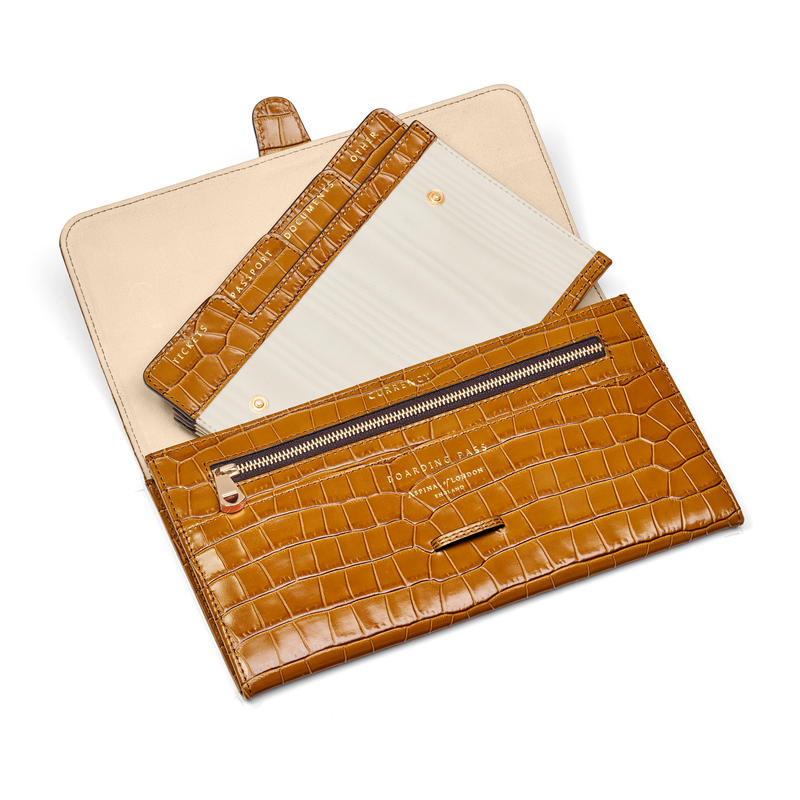 Travel Wallet with Removable Inserts in Deep Shine Vintage Tan Small Croc