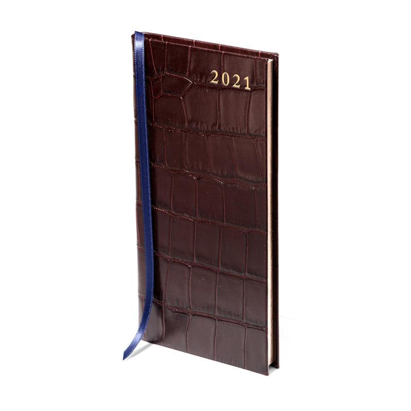 Slim Pocket Leather Diary in Deep Shine Amazon Brown Croc